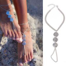 Anklet Barefoot Women Sandal Toe Ring Silver Chain Foot Jewelry Beach Bracelet