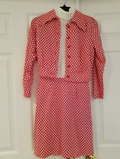 Vtg 2 Pc Red Check Dress and Jacket T Neck Sleeveless Dress Sz 7