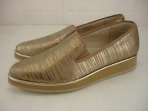 Women's 9 M Donald J Pliner Betina Platino Metallic Striped Shoes Loafer Slip-On
