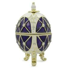 Trellis on Purple Enamel Royal Inspired Russian Easter Egg 2.75 Inches