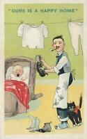 VINTAGE COMIC OURS is a HAPPY HOME MAN does ALL WORK POSTCARD EXCELLENT UNUSED
