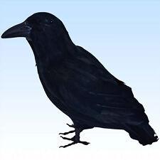 Schwarzer Rabe 30 cm mit echten Federn  Tier Vogel Kostümzubehör Hexe Dekoration