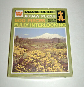 Vintage Flowering Field Mt. Shasta Whitman Deluxe Jigsaw Picture Puzzle 15 x 18
