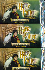MOVIE TRADING CARDS 3 BOOSTERS HARRY POTTER AND THE SORCERER'S STONE