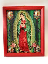 Authentic MEXICAN Virgin of Guadalupe Glittery Retablo Painting Icons Kitsch #29
