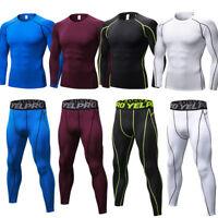 Mens Compression Base Layer Set Running Gym Top Long Sleeve Pants Athletic Shirt