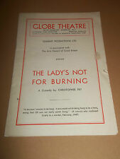 "GLOBE THEATRE "" THE LADY'S NOT FOR BURNING "" THEATRE PROGRAMME 1948 RICH. BURTON"