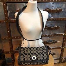 Coach Hampton Signature Flap Shoulder Handbag Black F13972