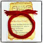 5 KABBALAH RED STRING BRACELETS Evil Eye Protection Wool + Ben Porat Prayer Card