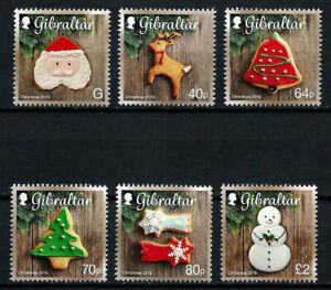 GIBRALTAR, SCOTT # 1588-1593, SET OF 6 CHRISTMAS COOKIES YEAR 2016 TREE ORNAMENT