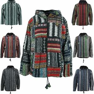 HOODIE JACKET HIPPIE FESTIVAL FULLY LINED CARDIGAN BRUSHED COTTON PATCHWORK