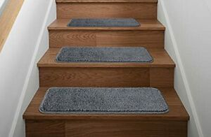 Ottomanson Comfort Collection Soft Shag Carpet Stair Treads 14 Pack Gray 14-P...