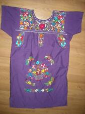 Vtg Womens 60S Hippy Trippy Flower Festival Boho Ethnic Embroidered Purple Dress