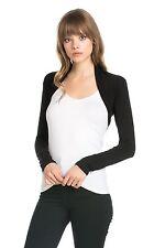 Women Rayon Solid long Sleeve Bolero Shrug Cropped Cardigan Vest Sweater Jacket
