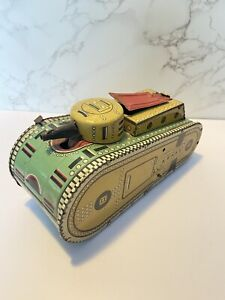 Vintage Marx Dough Boy Metal Wind Up Tank Tin Litho Wind Up Key 1937