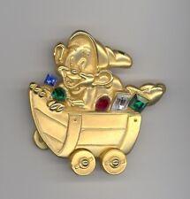 Disney Snow White & Seven Dwarfs Dopey Jeweled Mine Train Car Brooch Jewelry Pin
