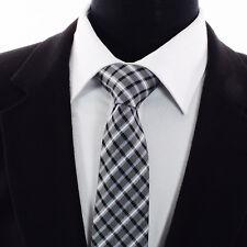 Men's Plaid Grey Tartan Checked Tie Black White Blue Stripes 55