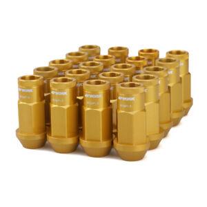 20pc M12x1.5 Lock Lug Nuts Aluminum Golden Racing Tuner Wheel Nut Open End w/Key