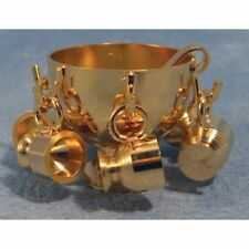 Brass Punch Bowl Set, Dolls House Miniature Kitchen Dining Accessory
