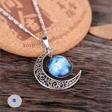 Women Men Galaxy Space Antique Silver Crescent Moon Pendant Necklace Jewelry 8