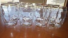 Vintage Barrel Juice Glasses Tumblers Textured gold trim flat bottom 8 11ounce