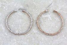 """10kt White & Rose Gold Italian Hoop Earrings,1.25""""/3.68g (NEW  ladys) 00001007"""
