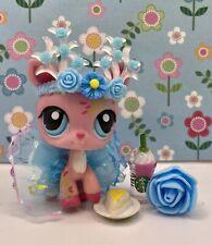 Authentic Littlest Pet Shop # 1356 Pink Post Card Deer Cherry Blossoms Blue Eyes