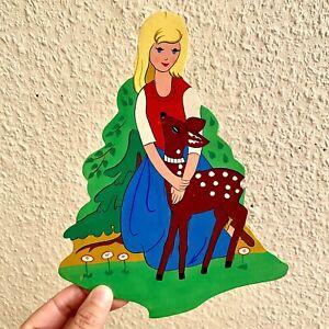 🚬 Märchen-Holzbild ALT 1960er Brüderchen+Schwesterchen 22cm Vintage Deko Kind