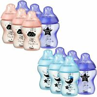 New 6x Tommee Tippee  260ml 9oz Feeding Bottles Night BBA FREE Blue / Pink