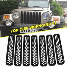 For 97-06 Jeep Wrangler TJ Front Grill Black Protect Mesh Insert Cover Trim 7PCS