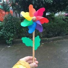 1pc Plastic Rainbow Party Pinwheel DIY Windmill Garden Children Decor Toy J8R3