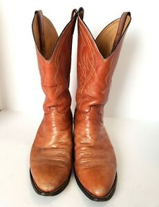 Justin Boots Tan Brown Leather Western Cowboy Boots Style 1632 Mens Size 10 E
