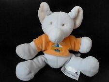 DOUDOU PELUCHE INFLUX  ELEPHANT BLEU tee shirt orange broderie cirque TTBE !