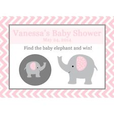 24 Baby Shower Scratch Off Game Cards   - Pink Elephant