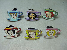 Disney 2009 Hidden Mickey Princess Tea Cups Complete 6 Pin Set