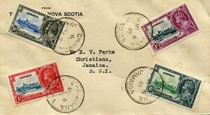 1935 Silver Jubilee Jamaica set on locally used FDC