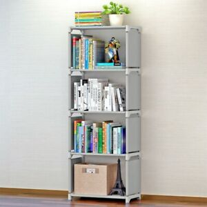 4 Tiers Bookshelf Bookcase Stand Free Shelf Shelves Ladder Storage Display Unit