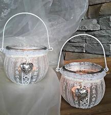 ❀ 2 x Windlicht Glas Kugel Spitze Weiß Stoff Teelichthalter + Bügel Laterne 205B