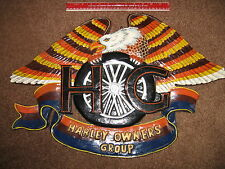 HOG SIGN > CUSTOM CARVED WOOD > HAND PAINTED > Harley Owners Group Davidson  ART