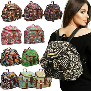 Backpack Ladies Girls Women Bag Animal Print Canvas Rucksack School Gym Travel