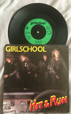"""GIRLS SCHOOL """" HIT AND RUN """"  7"""" Retro Vintage Classic Rock - Never Played"""