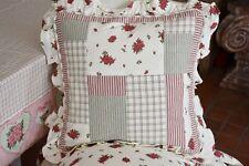 Clayre & Eef, Kissenhülle Rosen und Streifen, 40 x 40 cm, rot