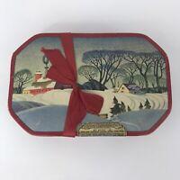 Vintage Gales Chocolates Pastoral Octagon Box Winter Scene Boston Mass
