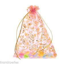 50 pcs 15x20cm Sachets Pochettes Organza Rose Motif Fleur Cadeau Mariage Fête