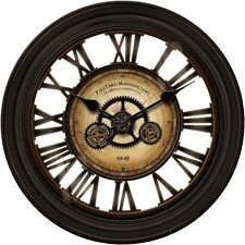 24-In Huge GEARS Round Wall Clock Antique Vintage Clocks Living Room Big Large