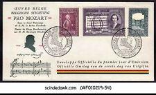 BELGIUM - 1956 PRO MOZART COMMITTEE / MUSIC - FDC