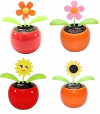 4 Eco-friendly Bobblehead Solar Dancing Flowers in Colorful Pots