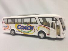 "Coach Bus 7"" Die Cast Metal, Opening Door,Pull Back To Go,White,Toy Boys Girls"