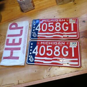 Michigan 1976 License Plate  4058GT - NOS - MINT Condition