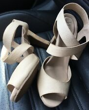 YOU by Crocs-Jabinta-Ivory Textured Leather-Wood Heel-Strappy-Sz.8